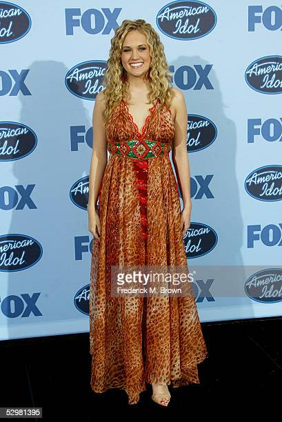 American Idol winner Carrie Underwood poses in the press room at the American Idol Finale Results Show held at the The Renaissance Hotel on May 25...