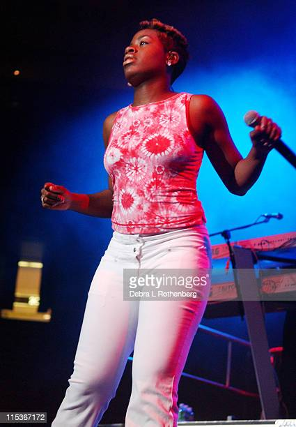 American Idol winner Fantasia Barrino during American Idol 5 Live In Concert August 29 2004 at Continental Arena in East Rutherford New Jersey United...