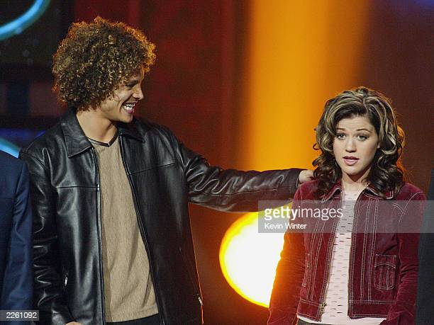 American Idol winner Kelly Clarkson and Justin Guarini right after Clarkson was announced the winner of the contest at the Kodak Theatre in Hollywood...