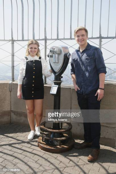 American Idol winner Maddie Poppe and American Idol runnerup Caleb Lee Hutchinson visit The Empire State Building on August 15 2018 in New York City