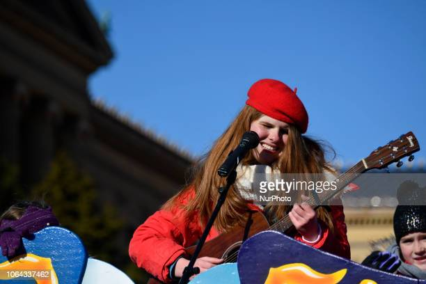 American Idol's Catie Turner performs during the live broadcast of the 99th 6ABC/Dunkin' Donuts Annual Thanksgiving Day parade at the Art Museum...