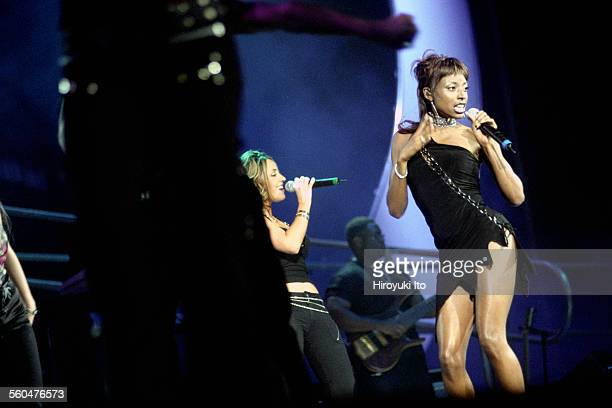 """""""American Idols Live"""" at Continental Airlines Arena in New Jersey on Wednesday night, July 30, 2003.This image:Julia DeMato, center, and Trenyce,..."""