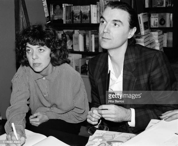American illustrator Maira Kalman and Rock and Pop musician David Byrne sign copies of their book, 'Stay Up Late,' at the Rizzoli bookstore, New...