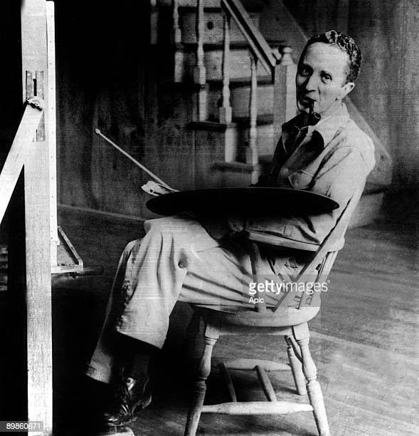 American Illustrator Norman Rockwell in his workshop on West Arlington, Vermont c. 1950