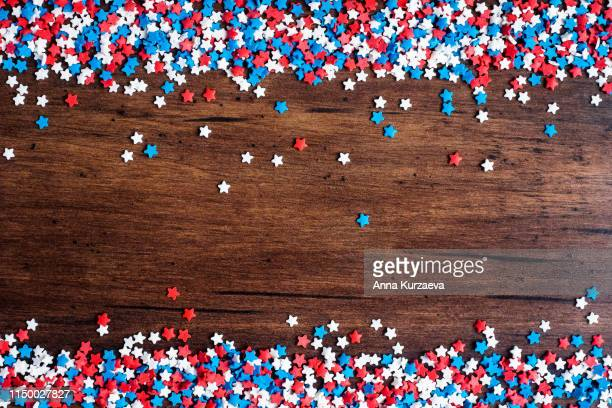 american independence day background with blue, white and red mixed stars. celebration of american independence day, the 4th of july (the fourth of july). holiday concept. top view. with copy space. - patriotic stock pictures, royalty-free photos & images