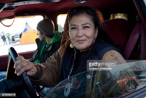 American Indian Movement supporter drives through the Oceti Sakowin camp just outside of the Lakota Sioux reservation of Standing Rock North Dakota...