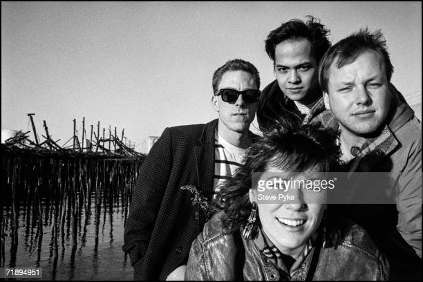 American indie band The Pixies late 1980s From left to right drummer Dave Lovering bassist Kim Deal front guitarist Joey Santiago and singer Black...