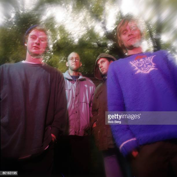 American indie rock band Archers of Loaf drummer Marc Price lead vocalist/guitarist Eric Bachmann guitarist Eric Johnson and bassist Matt Gentling...