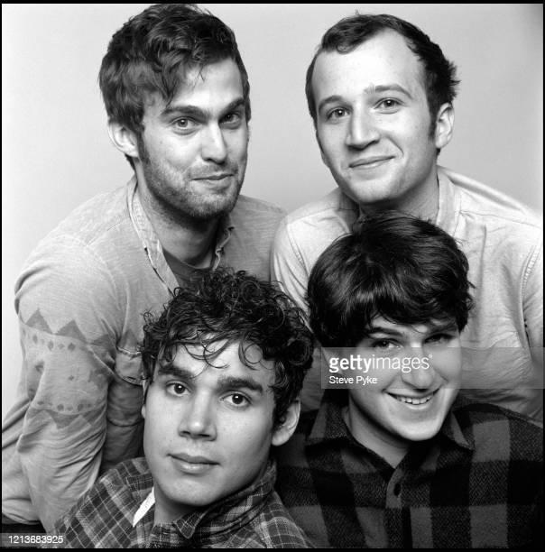 American indie rock group Vampire Weekend New York City 2009 Clockwise from top left drummer Chris Tomson bassist Chris Baio singer Ezra Konig and...