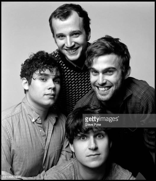 American indie rock group Vampire Weekend New York City 2009 Clockwise from top bassist Chris Baio drummer Chris Tomson singer Ezra Konig and...