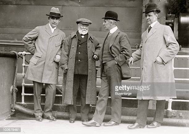 American industrialist and philanthropist Andrew Carnegie speaks with unidentified others early twentieth century