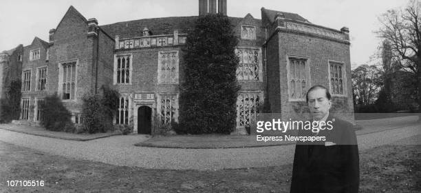 American industrialist J Paul Getty outside Sutton Place his Tudor manor house in Surrey 16th October 1959 He has just purchased the house from the...