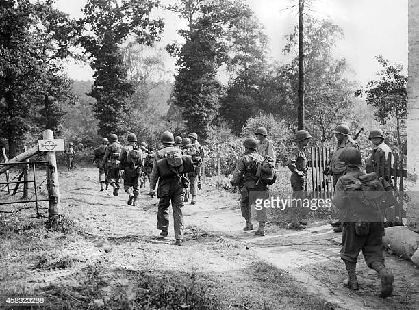 American infantrymen enter Germany on september 12 crossing the border between Belgium and Germany near Aachen as they carry the war into the Reich...