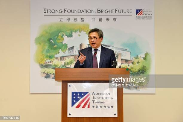 American Institute in Taiwan Director Kin Moy answers questions during a press conference at the American Center in Taipei on May 21 2018