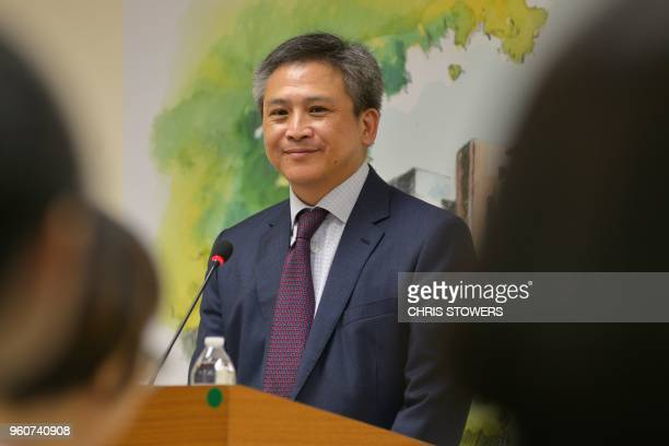 American Institute in Taiwan Director Kin Moy attends a press conference at the American Center in Taipei on May 21 2018