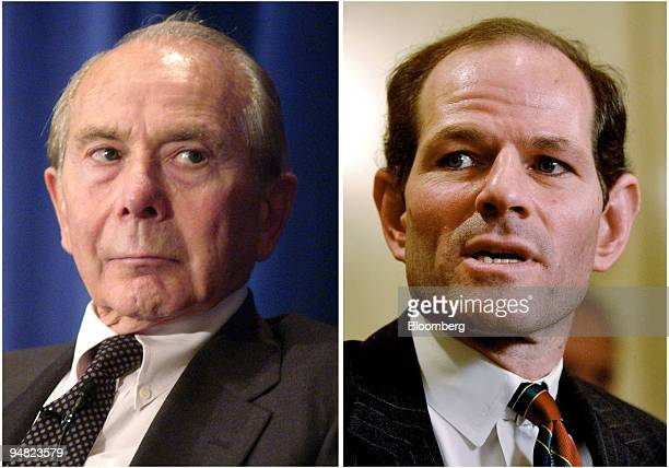 American International Group chief executive Maurice 'Hank' Greenberg left and New York State Attorney General Eliot Spitzer right are pictured in...