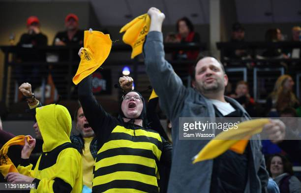 American International Yellow Jackets fans cheer after the Yellow Jackets scored a goal in the second period against the St Cloud State Huskies...