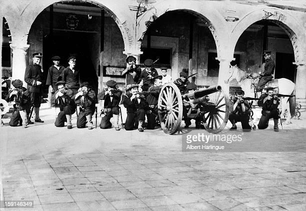 American intervention in Mexico. The US naval guns in Veracruz, 1914.