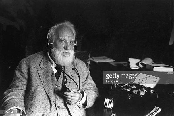 American inventor Alexander Graham Bell with one of his inventions ca 1910 Bell engineered the first intelligible electronic transmission of voice...