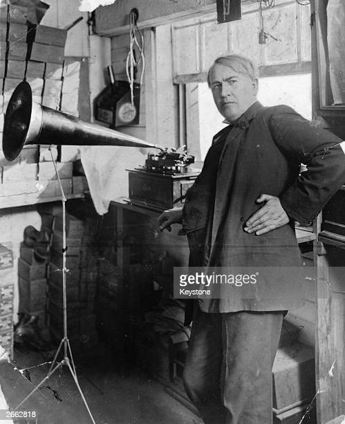 American inventor and businessman Thomas Edison with an Edison Standard Phonograph at his lab in West Orange New Jersey 1906 The Edison Standard...