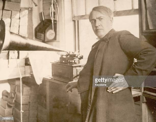 Inventor Thomas Edison with the first phonograph one of his inventions