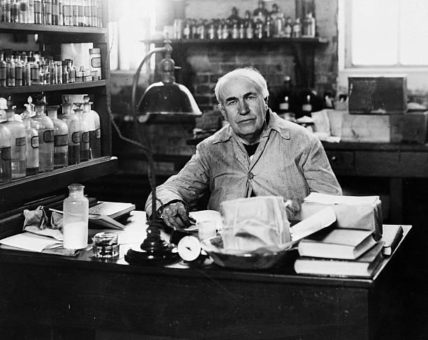 American inventor Thomas Alva Edison , in his laboratory...