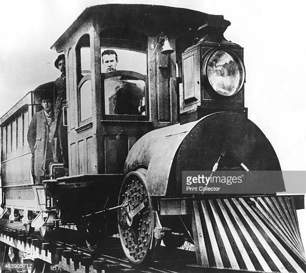 American inventor Thomas Alva Edison on board an electric railroad, 1892. Edison constructed a three-mile-long trial electric railroad at his Menlo...