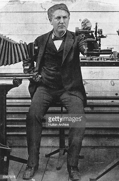 American inventor Thomas Alva Edison whose development of a practical electric light bulb electric generating system soundrecording device and film...