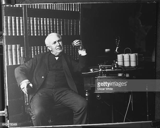 American inventor Thomas Alva Edison with the Edison Business Phonograph one of the over one thousand inventions he patented in his lifetime