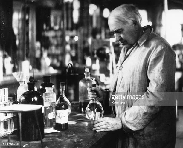 American inventor Thomas Edison at work in his laboratory 1917