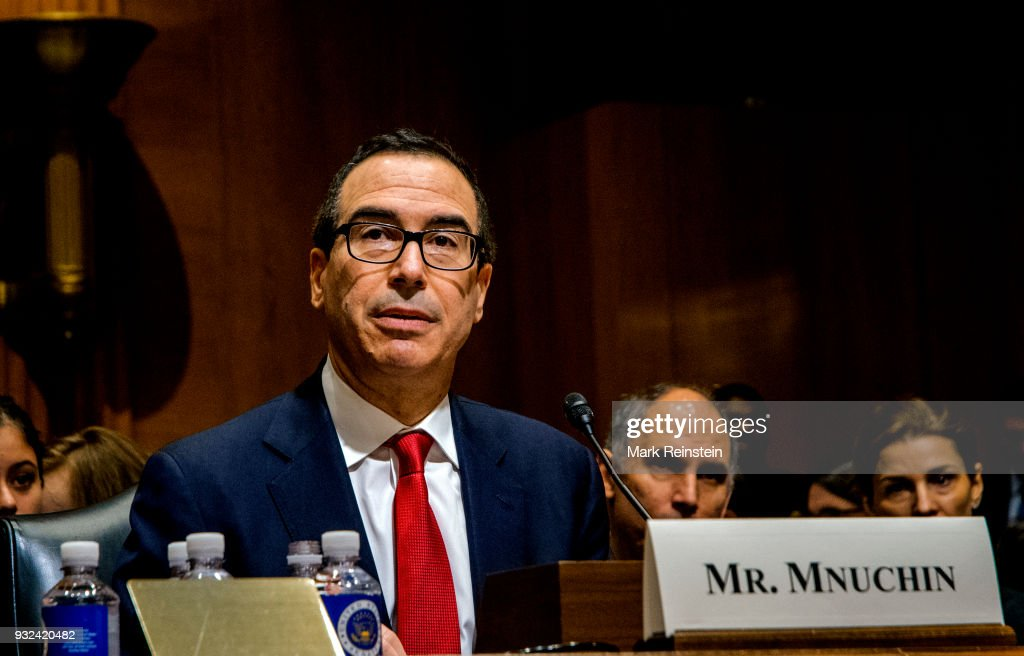 American investment banker Steven Mnuchin testifies before the Senate Finance Committee during his Secretary of the Treasury confirmation hearing, Washington DC, January 18, 2017.