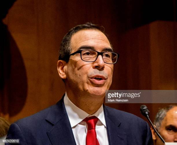 American investment banker Steven Mnuchin testifies before the Senate Finance Committee during his Secretary of the Treasury confirmation hearing...