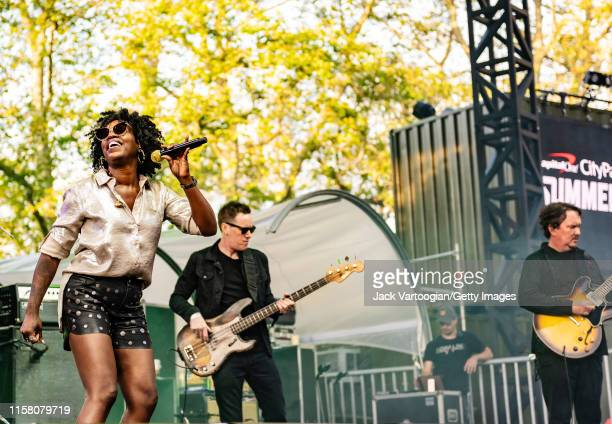 American jam band Galactic performs onstage at Central Park SummerStage New York New York June 4 2019 Pictured are fore vocalist Erica Falls and...
