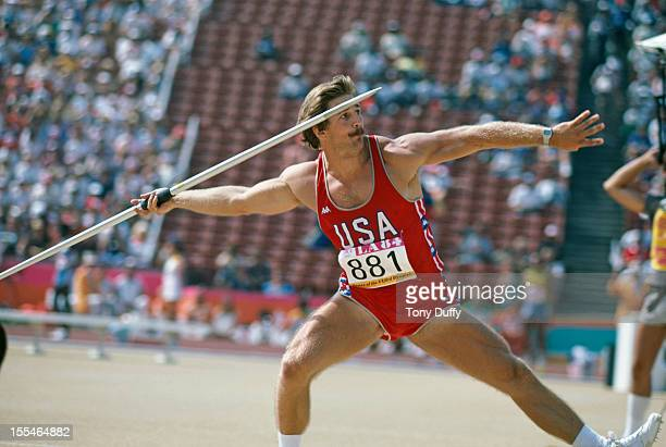 American javelin thrower Duncan Atwood competing in the Olympic Games Los Angeles August 1984