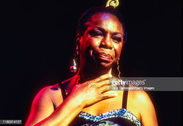 American Jazz and Blues musician Civil Rights activist Nina Simone performs at the Beacon Theater New York New York May 1 1993