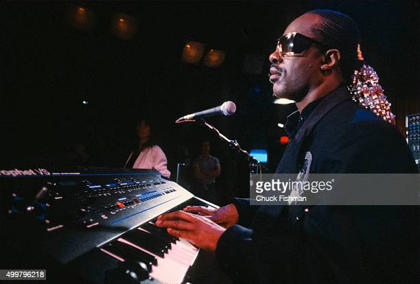 American Jazz and Pop musician Stevie Wonder plays piano on the set of the television soap opera 'All My Children' during a rehearsal New York New...