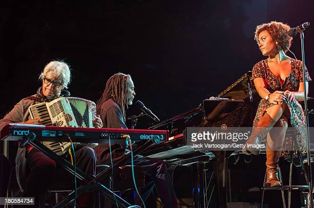 American Jazz and Pop vocalist Bobby McFerrin at the piano performs with his daughter singer Madison McFerrin and Gil Goldstein on accordion at...