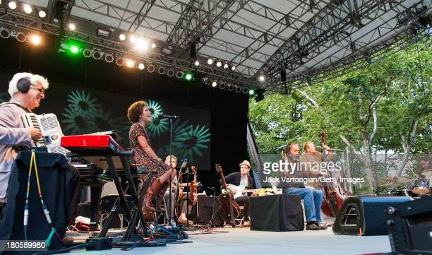 American Jazz and Pop vocalist Bobby McFerrin performs with his band with composer/arranger Gil Goldstein on accordion and keyboards singer Madison...