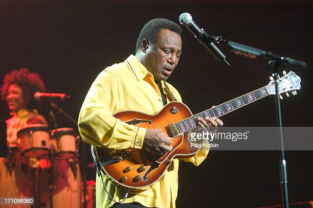 American jazz and RB musician George Benson performs with his band on stage at the Oriental Theater Chicago Illinois May 1 2004