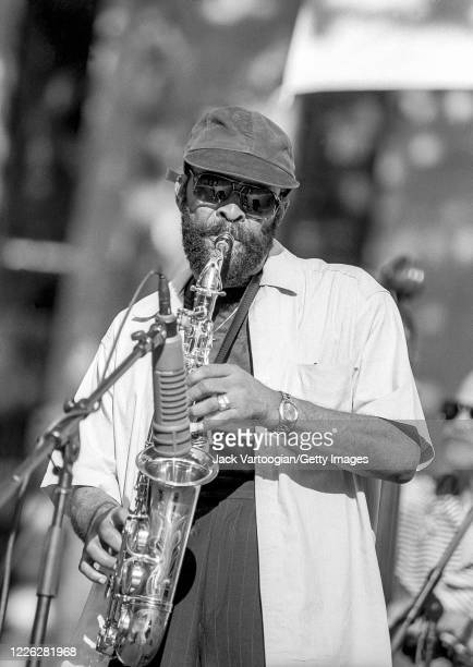 American Jazz and R&B musician Hank Crawford plays alto saxophone as he performs onstage, with his quartet, during a JVC Jazz Festival concert in...