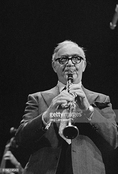 American jazz and swing clarinettist and bandleader Benny Goodman performing in France March 1972