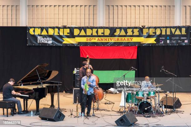 American jazz band Fountain of Youth perform at the City Parks Foundation's 20th Annual Charlie Parker Jazz Festival at the Richard Rodgers...