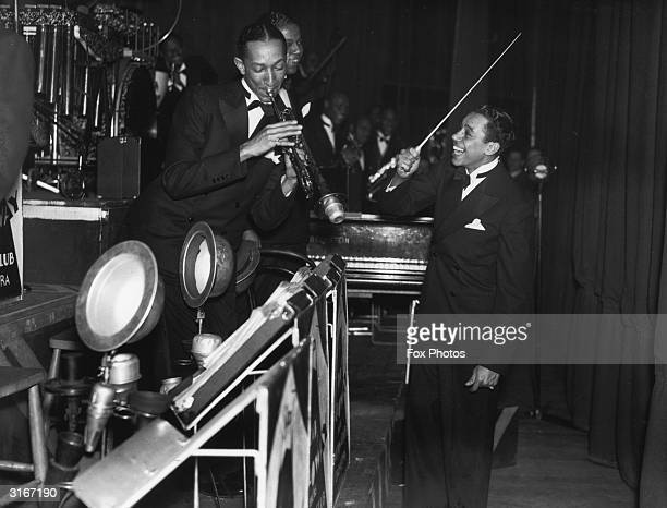 American jazz band leader and singer Cab Calloway in concert at the Trocedero Elephant and Castle south London