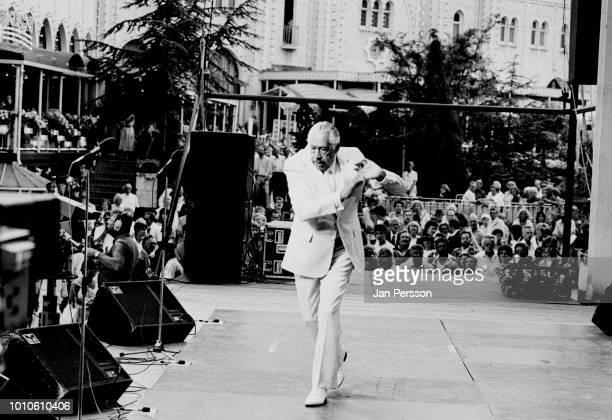 American jazz bandleader Cab Calloway performing at Tivoli Gardens Copenhagen Denmark July 1987
