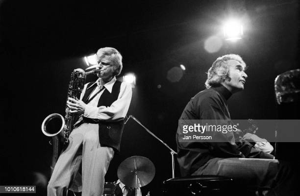 American jazz barritone saxophonist Gerry Mulligan and American jazz pianist Dave Brubeck performing at Berliner Jazztage Berlin Germany October 1970.