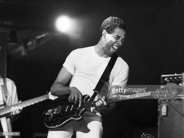 American jazz bass player Stanley Clarke performing at Jazzhouse Montmartre Copenhagen, Denmark, June 1987.