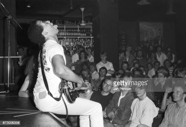 American jazz bass player Stanley Clarke performing at Jazzhouse Montmartre Copenhagen, Denmark, June 1987.