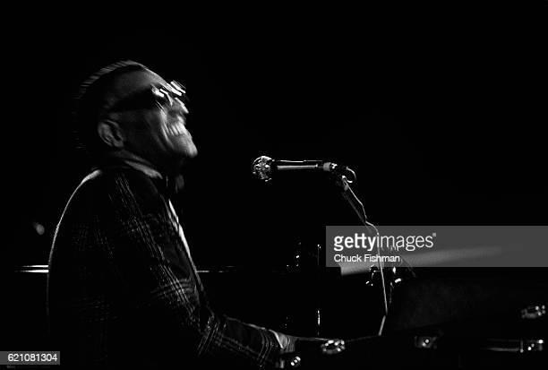 American Jazz Blues and Pop musician Ray Charles performs on stage at an unspecified venue in the south of France July 1980