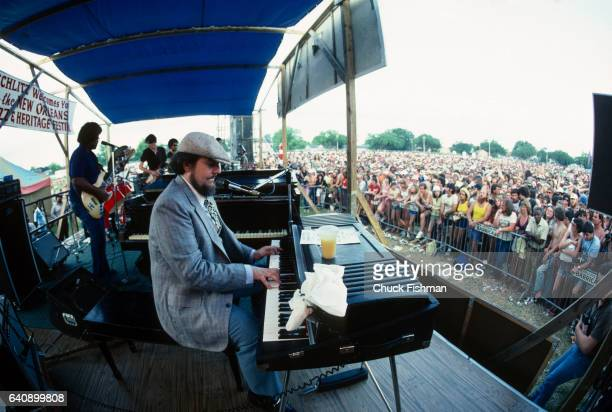 American Jazz Blues and Zydeco musician Dr John plays keyboards as he leads his band in a performance at the New Orleans Jazz Heritage Festival at...
