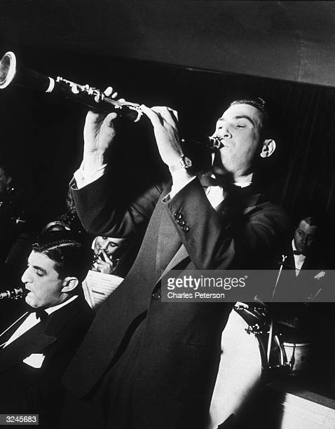 American jazz clarinetist and bandleader Artie Shaw performs with his band at the Hotel Lincoln New York City Shaw's band had one of its biggest hits...